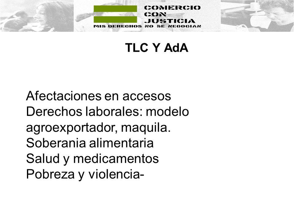 TLC Y AdA Afectaciones en accesos Derechos laborales: modelo agroexportador, maquila. Soberania alimentaria Salud y medicamentos Pobreza y violencia-