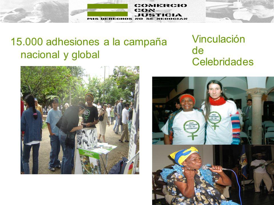 15.000 adhesiones a la campaña nacional y global Vinculación de Celebridades