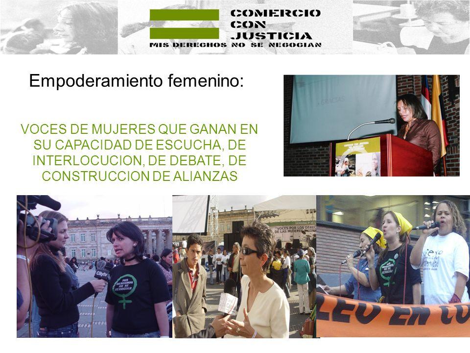 Empoderamiento femenino: VOCES DE MUJERES QUE GANAN EN SU CAPACIDAD DE ESCUCHA, DE INTERLOCUCION, DE DEBATE, DE CONSTRUCCION DE ALIANZAS