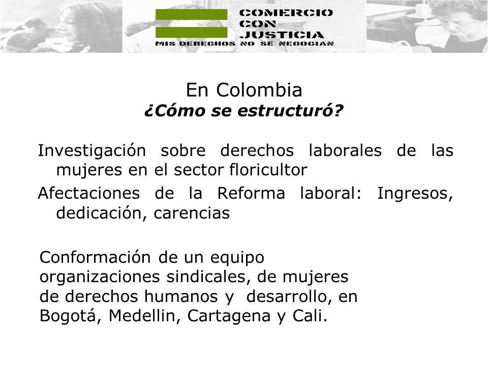 En Colombia ¿Cómo se estructuró? Investigación sobre derechos laborales de las mujeres en el sector floricultor Afectaciones de la Reforma laboral: In
