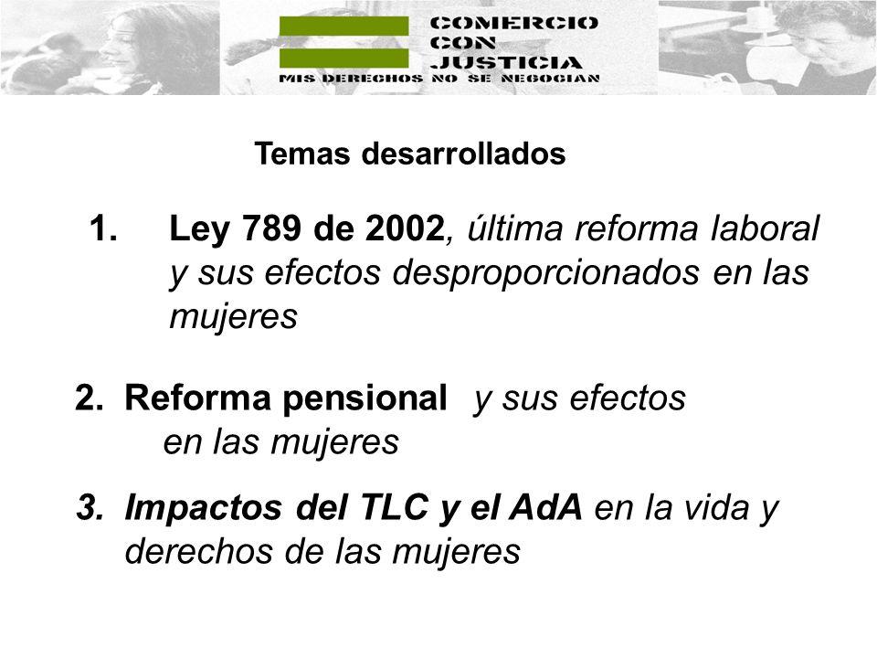 1.Ley 789 de 2002, última reforma laboral y sus efectos desproporcionados en las mujeres Temas desarrollados 2.Reforma pensional y sus efectos en las mujeres 3.Impactos del TLC y el AdA en la vida y derechos de las mujeres
