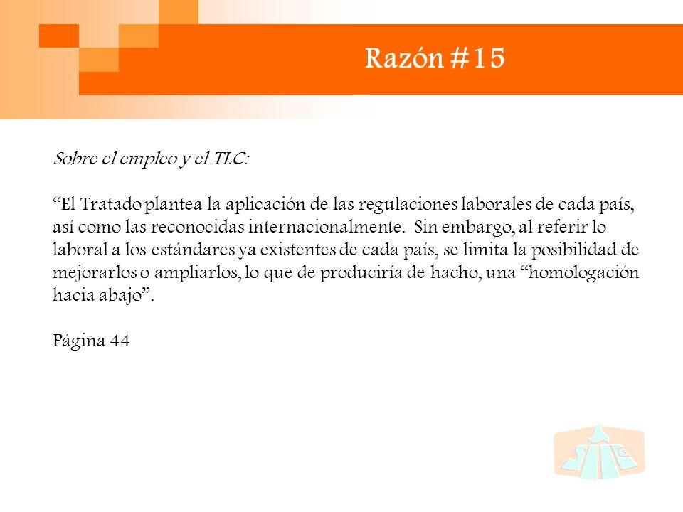 Razón #15 Sobre el empleo y el TLC: El Tratado plantea la aplicación de las regulaciones laborales de cada país, así como las reconocidas internacionalmente.