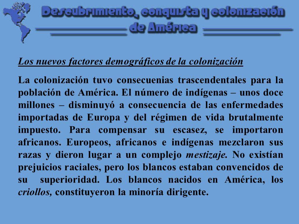 Los nuevos factores demográficos de la colonización La colonización tuvo consecuenias trascendentales para la población de América.
