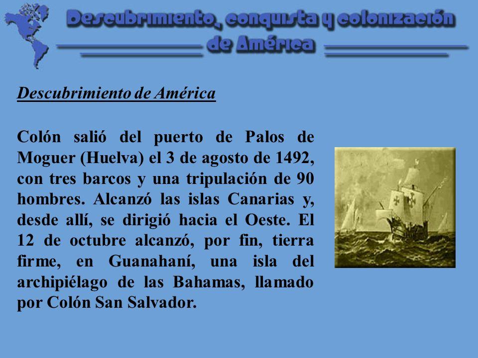 Colón exploró también la isla de Cuba (Juana) y Haití (La Española).