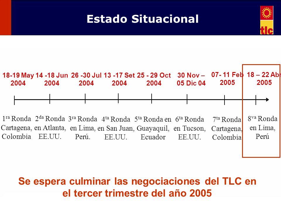 111 18-19 May 2004 1 ra Ronda Cartagena, Colombia 14 -18 Jun 2004 2 da Ronda en Atlanta, EE.UU. 26 -30 Jul 2004 3 ra Ronda en Lima, Perú. 13 -17 Set 2