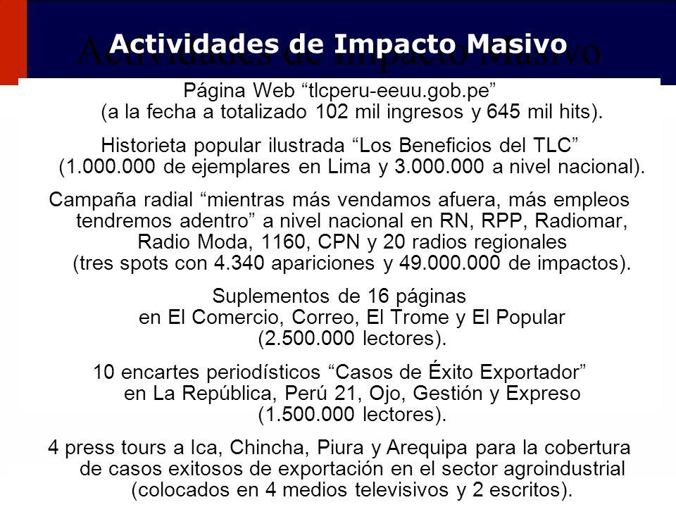 112 Actividades de Impacto Masivo Página Web tlcperu-eeuu.gob.pe (a la fecha a totalizado 102 mil ingresos y 645 mil hits). Historieta popular ilustra