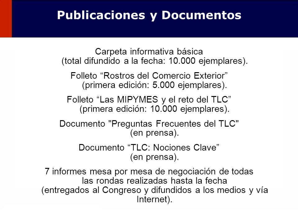 113 Publicaciones y Documentos Carpeta informativa básica (total difundido a la fecha: 10.000 ejemplares). Folleto Rostros del Comercio Exterior (prim