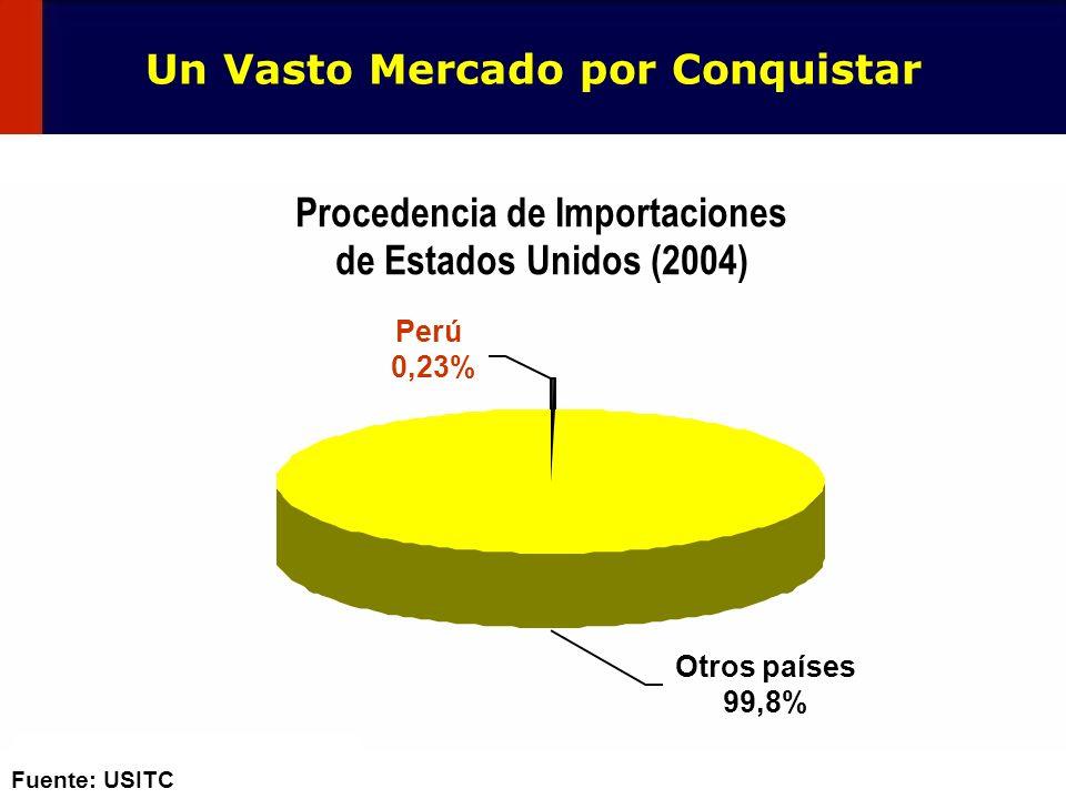 118 Fuente: USITC Procedencia de Importaciones de Estados Unidos (2004) Otros países 99,8% Perú 0,23% Un Vasto Mercado por Conquistar