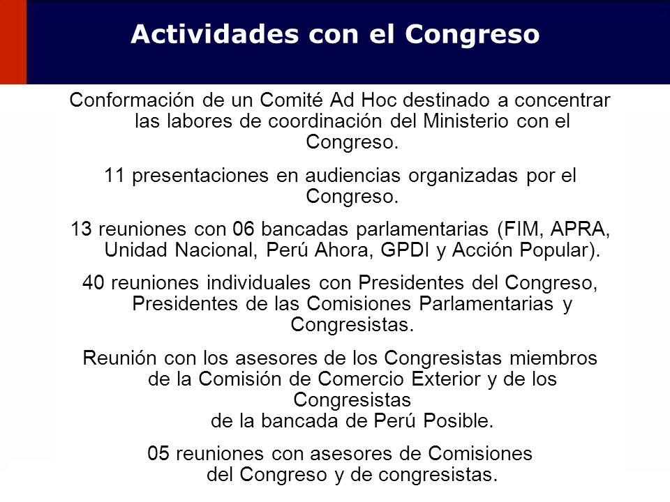 122 Actividades con el Congreso Conformación de un Comité Ad Hoc destinado a concentrar las labores de coordinación del Ministerio con el Congreso. 11