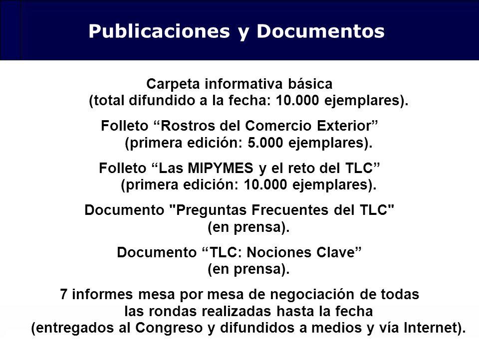 124 Publicaciones y Documentos Carpeta informativa básica (total difundido a la fecha: 10.000 ejemplares). Folleto Rostros del Comercio Exterior (prim