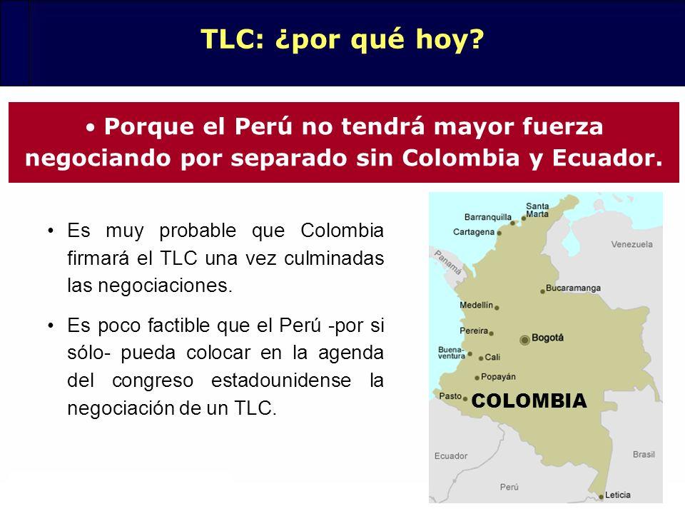 20 Es muy probable que Colombia firmará el TLC una vez culminadas las negociaciones. Es poco factible que el Perú -por si sólo- pueda colocar en la ag