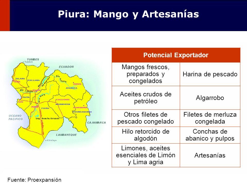 40 Potencial Exportador Mangos frescos, preparados y congelados Harina de pescado Aceites crudos de petróleo Algarrobo Otros filetes de pescado congel