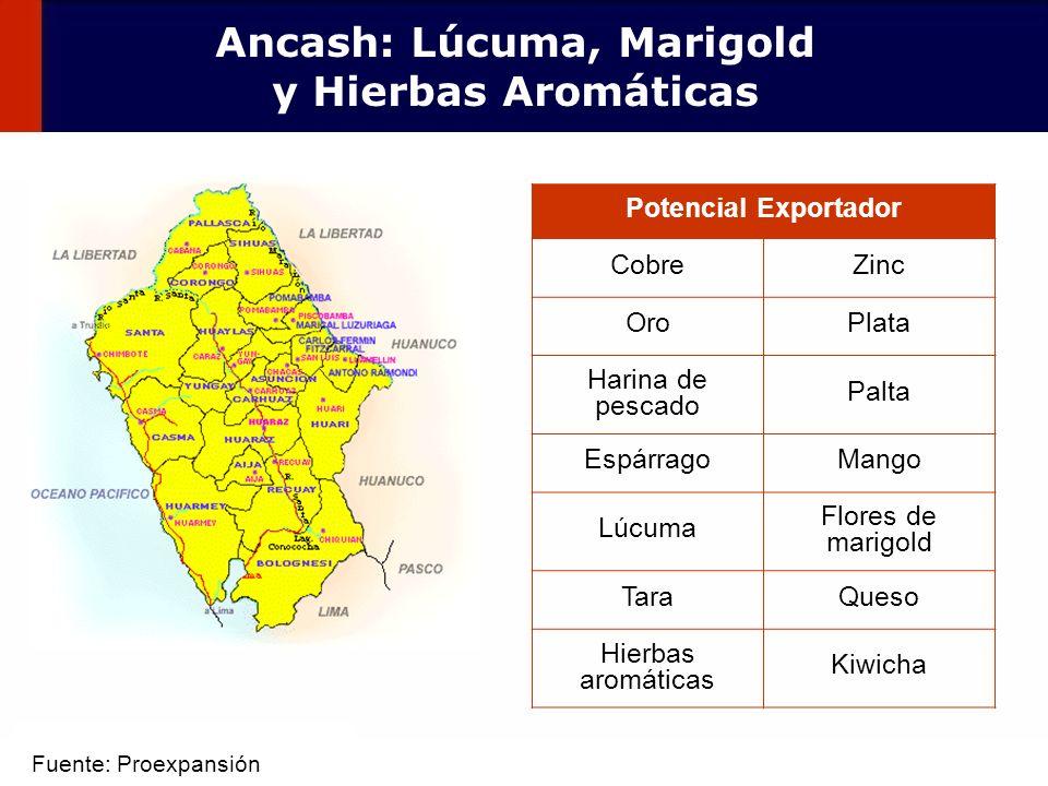 45 Potencial Exportador CobreZinc OroPlata Harina de pescado Palta EspárragoMango Lúcuma Flores de marigold TaraQueso Hierbas aromáticas Kiwicha Ancas