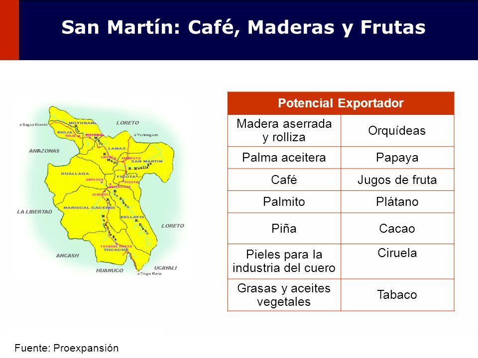 47 Potencial Exportador Madera aserrada y rolliza Orquídeas Palma aceiteraPapaya CaféJugos de fruta PalmitoPlátano PiñaCacao Pieles para la industria