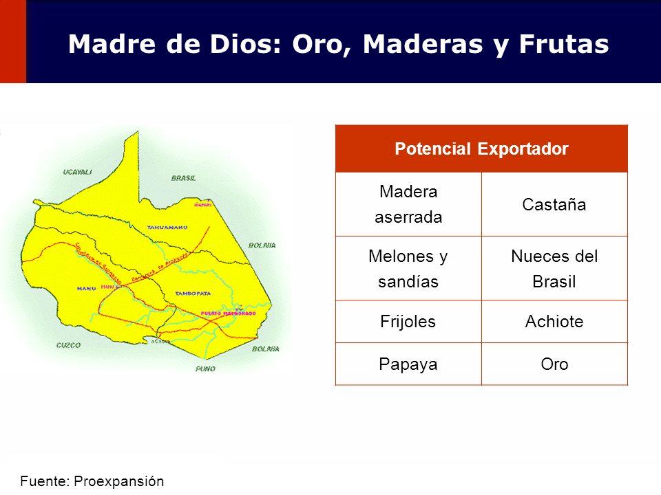 49 Potencial Exportador Madera aserrada Castaña Melones y sandías Nueces del Brasil FrijolesAchiote PapayaOro Madre de Dios: Oro, Maderas y Frutas Fue