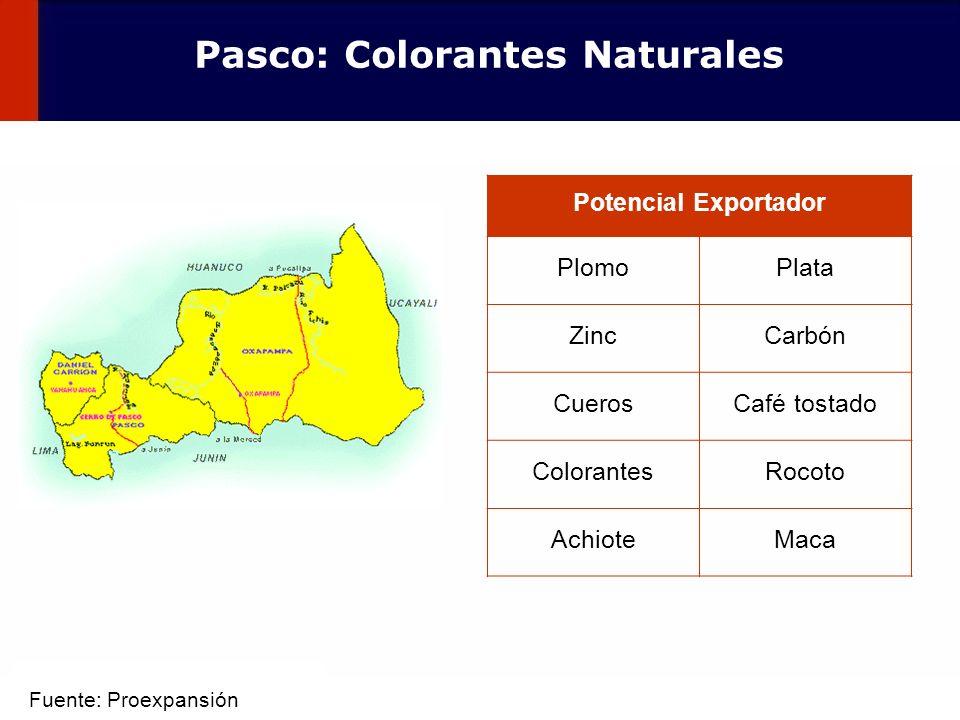 52 Potencial Exportador PlomoPlata ZincCarbón CuerosCafé tostado ColorantesRocoto AchioteMaca Pasco: Colorantes Naturales Fuente: Proexpansión