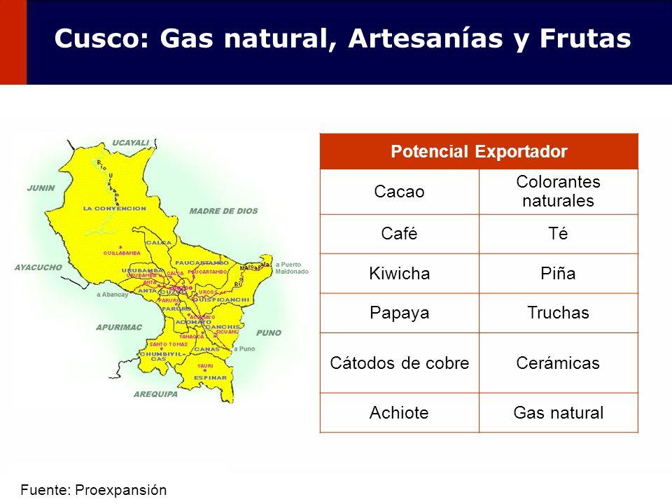 58 Potencial Exportador Cacao Colorantes naturales CaféTé KiwichaPiña PapayaTruchas Cátodos de cobreCerámicas AchioteGas natural Cusco: Gas natural, A