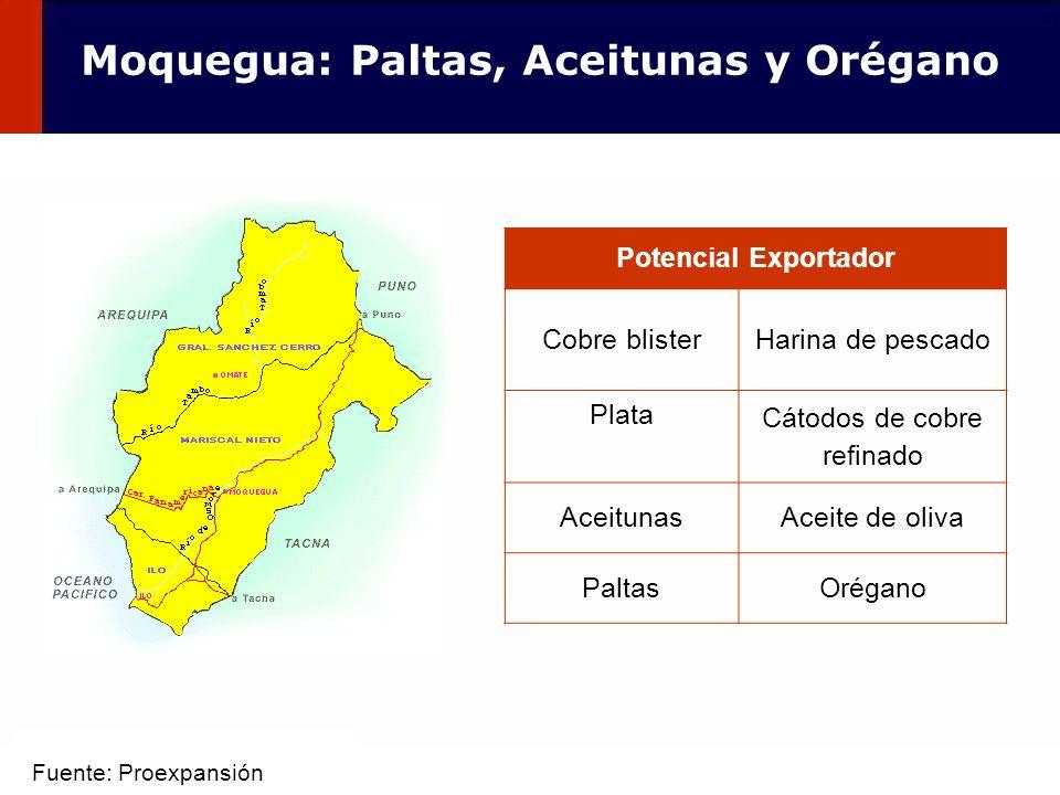 61 Potencial Exportador Cobre blisterHarina de pescado Plata Cátodos de cobre refinado AceitunasAceite de oliva PaltasOrégano Moquegua: Paltas, Aceitu
