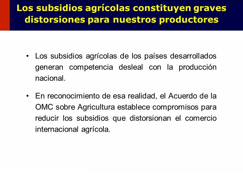 64 Los subsidios agrícolas de los países desarrollados generan competencia desleal con la producción nacional. En reconocimiento de esa realidad, el A