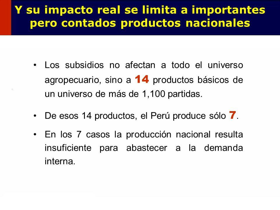 67 Los subsidios no afectan a todo el universo agropecuario, sino a 14 productos básicos de un universo de más de 1,100 partidas. De esos 14 productos