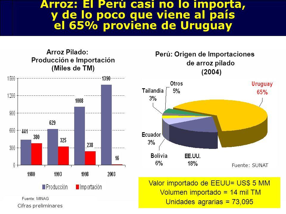74 Arroz Pilado: Producción e Importación (Miles de TM) Perú: Origen de Importaciones de arroz pilado (2004) Arroz: El Perú casi no lo importa, y de l
