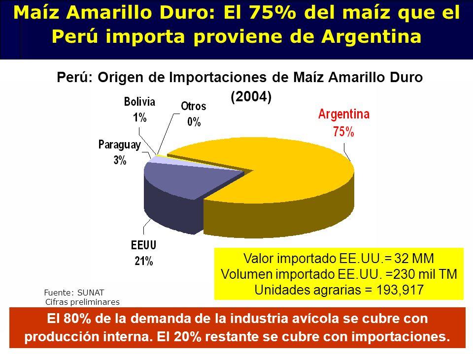 78 Perú: Origen de Importaciones de Maíz Amarillo Duro (2004) Fuente: SUNAT El 80% de la demanda de la industria avícola se cubre con producción inter