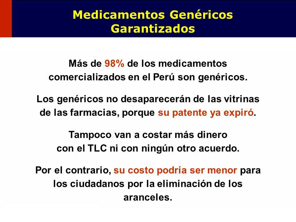 87 Más de 98% de los medicamentos comercializados en el Perú son genéricos. Los genéricos no desaparecerán de las vitrinas de las farmacias, porque su