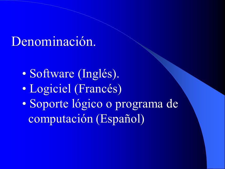Denominación. Software (Inglés). Logiciel (Francés) Soporte lógico o programa de computación (Español)
