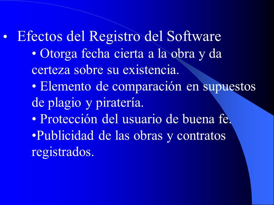 Efectos del Registro del Software Otorga fecha cierta a la obra y da certeza sobre su existencia. Elemento de comparación en supuestos de plagio y pir