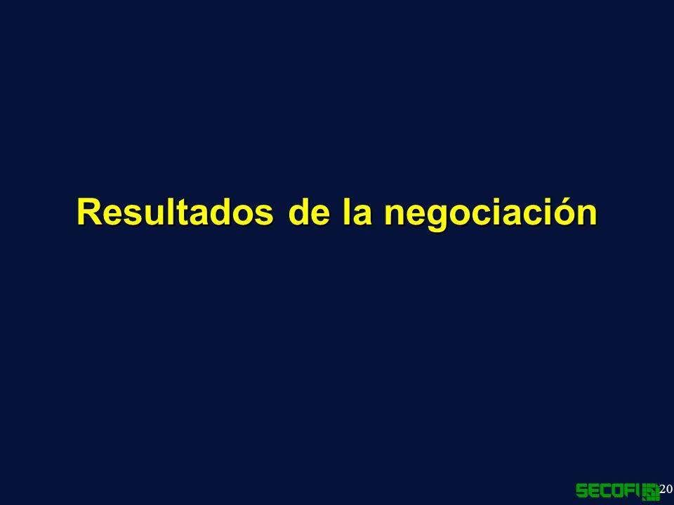 20 Resultados de la negociación