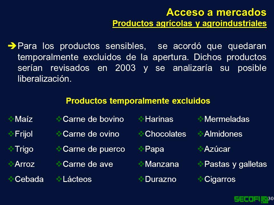30 Acceso a mercados Productos agrícolas y agroindustriales Para los productos sensibles, se acordó que quedaran temporalmente excluidos de la apertura.
