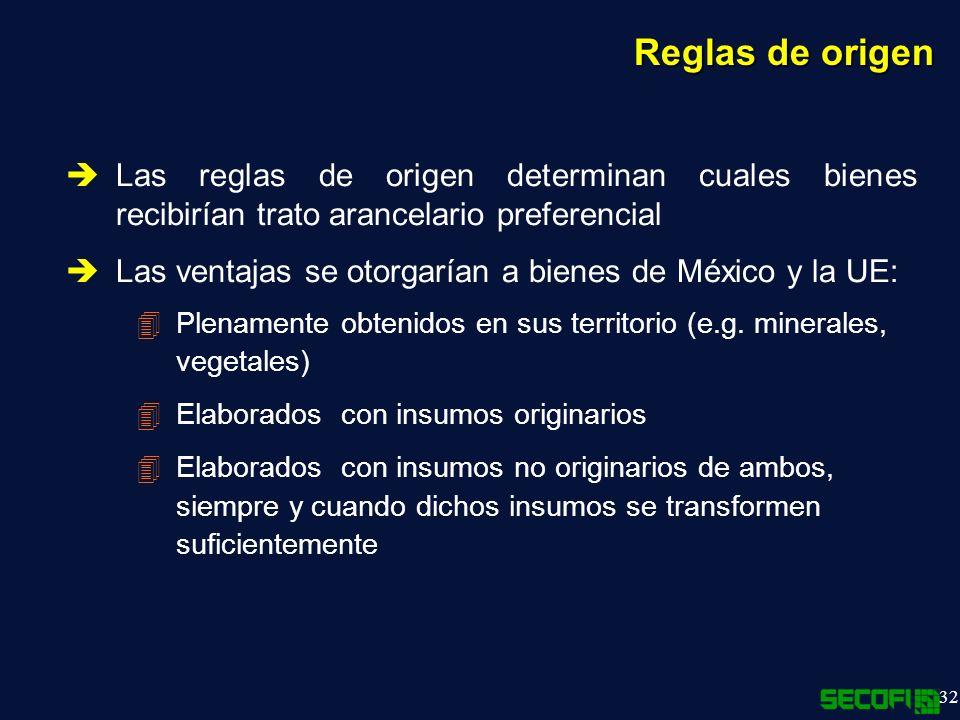 32 Reglas de origen Las reglas de origen determinan cuales bienes recibirían trato arancelario preferencial Las ventajas se otorgarían a bienes de México y la UE: 4Plenamente obtenidos en sus territorio (e.g.