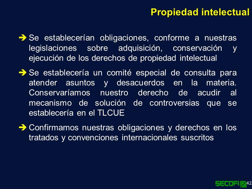 42 Se establecerían obligaciones, conforme a nuestras legislaciones sobre adquisición, conservación y ejecución de los derechos de propiedad intelectual Se establecería un comité especial de consulta para atender asuntos y desacuerdos en la materia.