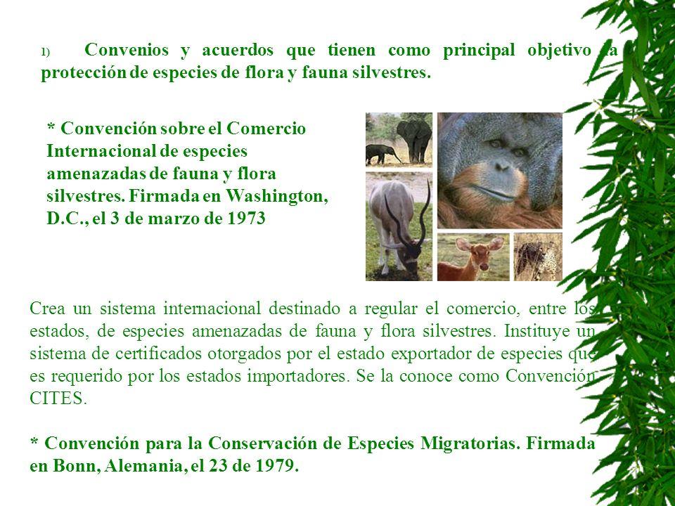 1) Convenios y acuerdos que tienen como principal objetivo la protección de especies de flora y fauna silvestres. * Convención sobre el Comercio Inter