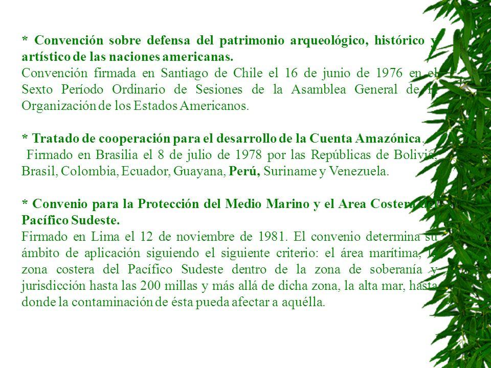 * Convención sobre defensa del patrimonio arqueológico, histórico y artístico de las naciones americanas. Convención firmada en Santiago de Chile el 1