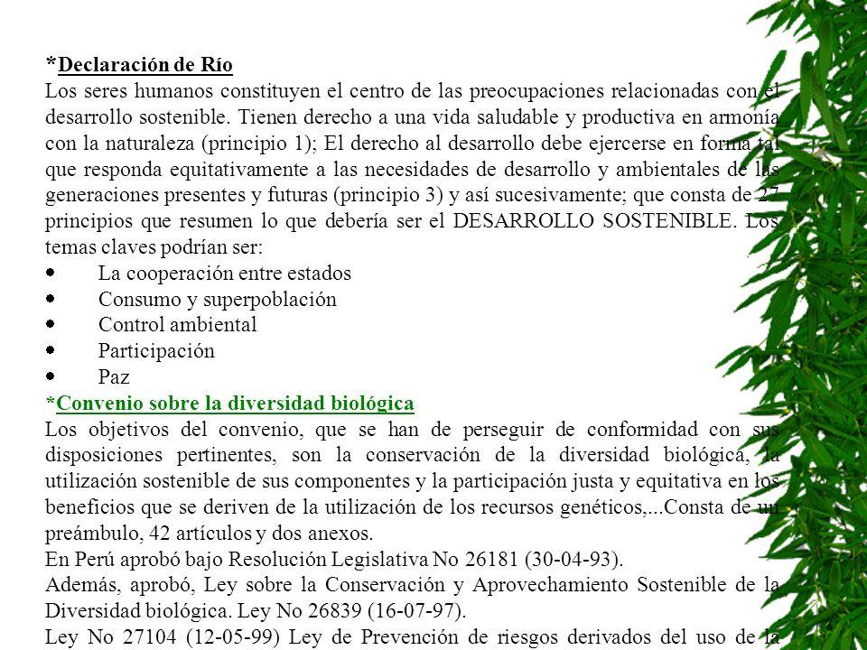 * Declaración de Río Los seres humanos constituyen el centro de las preocupaciones relacionadas con el desarrollo sostenible. Tienen derecho a una vid