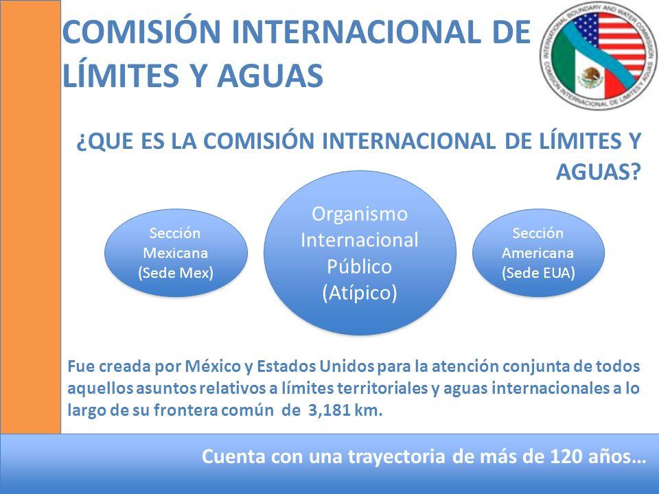 COMISIÓN INTERNACIONAL DE LÍMITES Y AGUAS ¿QUE ES LA COMISIÓN INTERNACIONAL DE LÍMITES Y AGUAS? Organismo Internacional Público (Atípico) Sección Amer
