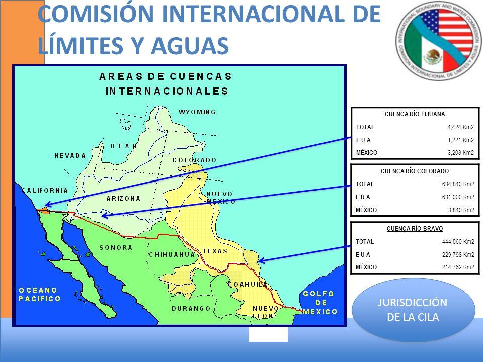 COMISIÓN INTERNACIONAL DE LÍMITES Y AGUAS CUENCA RÍO TIJUANA TOTAL 4,424 Km2 E U A 1,221 Km2 MÉXICO 3,203 Km2 CUENCA RÍO BRAVO TOTAL 444,560 Km2 E U A