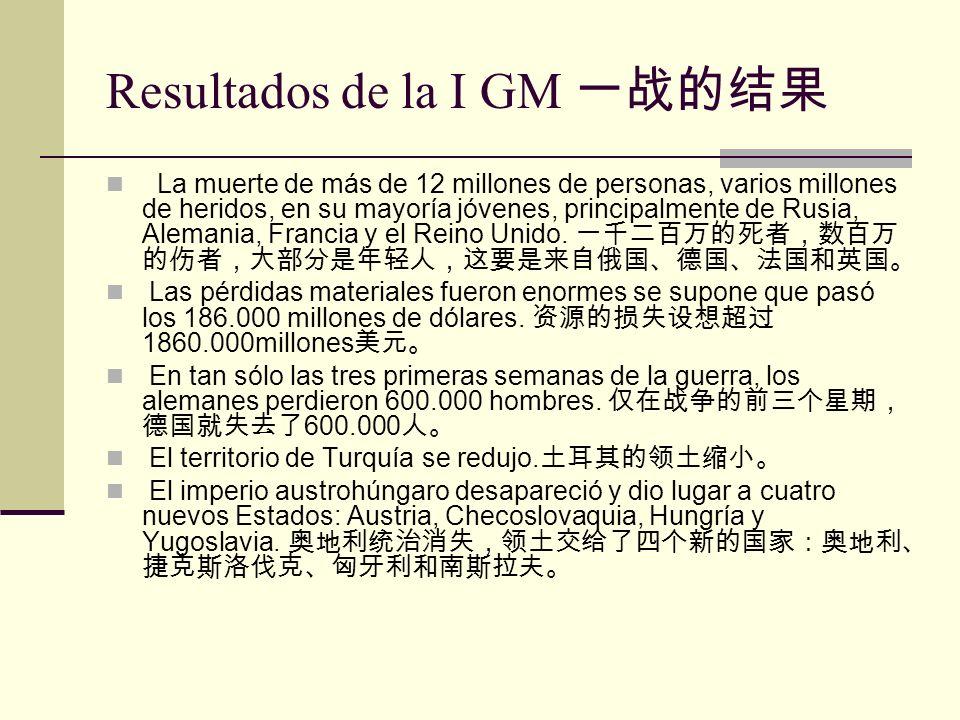 Resultados de la I GM La muerte de más de 12 millones de personas, varios millones de heridos, en su mayoría jóvenes, principalmente de Rusia, Alemani
