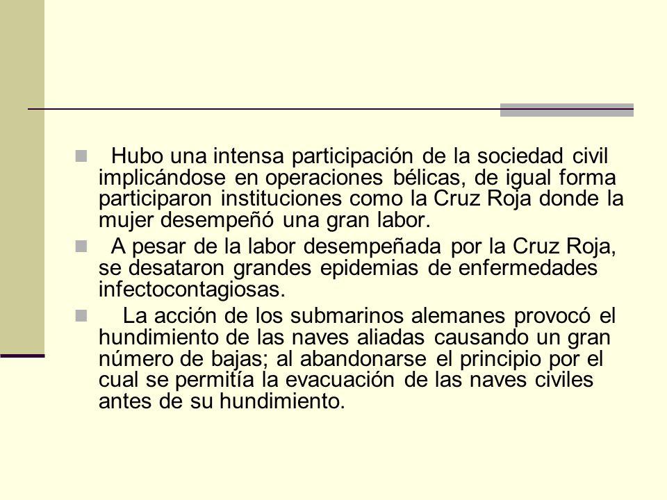 Hubo una intensa participación de la sociedad civil implicándose en operaciones bélicas, de igual forma participaron instituciones como la Cruz Roja d