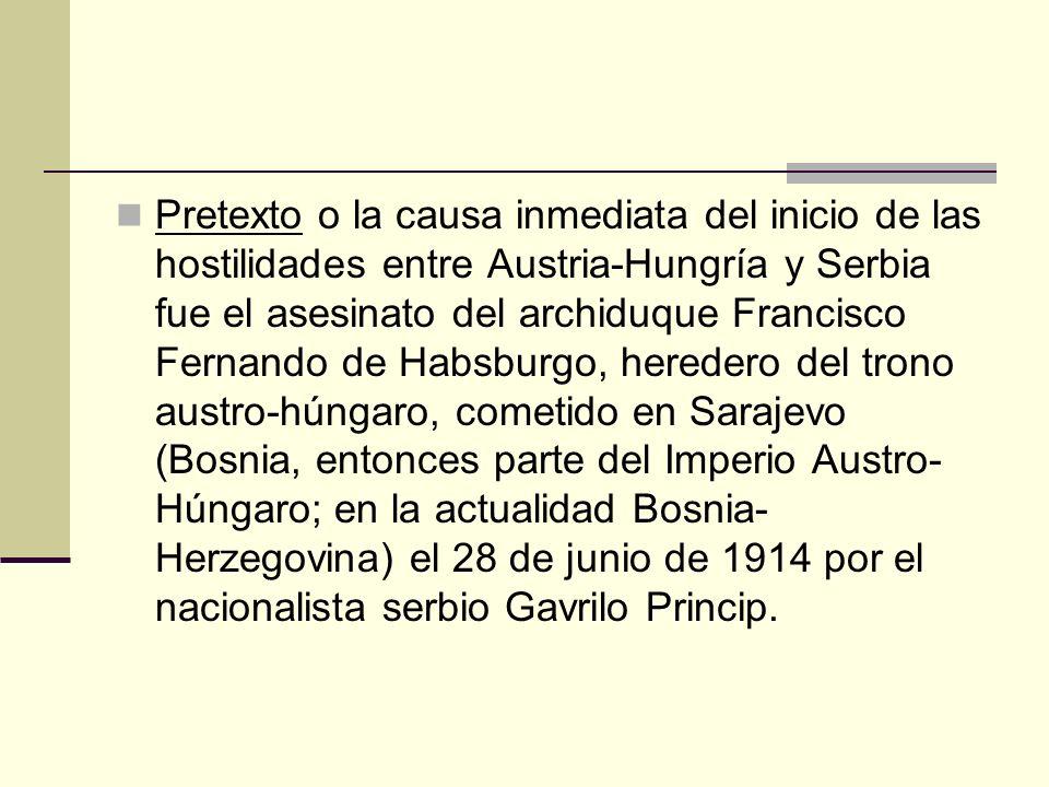 Pretexto o la causa inmediata del inicio de las hostilidades entre Austria-Hungría y Serbia fue el asesinato del archiduque Francisco Fernando de Habs