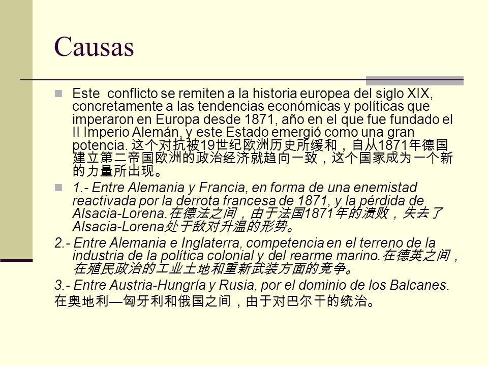 Causas Este conflicto se remiten a la historia europea del siglo XIX, concretamente a las tendencias económicas y políticas que imperaron en Europa de