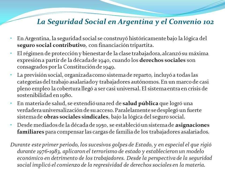 La Seguridad Social en Argentina y el Convenio 102 En Argentina, la seguridad social se construyó históricamente bajo la lógica del seguro social contributivo, con financiación tripartita.