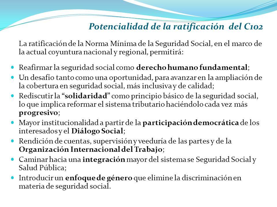Potencialidad de la ratificación del C102 La ratificación de la Norma Mínima de la Seguridad Social, en el marco de la actual coyuntura nacional y regional, permitirá: Reafirmar la seguridad social como derecho humano fundamental; Un desafío tanto como una oportunidad, para avanzar en la ampliación de la cobertura en seguridad social, más inclusiva y de calidad; Rediscutir la solidaridad como principio básico de la seguridad social, lo que implica reformar el sistema tributario haciéndolo cada vez más progresivo; Mayor institucionalidad a partir de la participación democrática de los interesados y el Diálogo Social; Rendición de cuentas, supervisión y veeduría de las partes y de la Organización Internacional del Trabajo; Caminar hacia una integración mayor del sistema se Seguridad Social y Salud Pública; Introducir un enfoque de género que elimine la discriminación en materia de seguridad social.