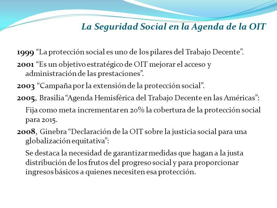 La Seguridad Social en la Agenda de la OIT 1999 La protección social es uno de los pilares del Trabajo Decente.