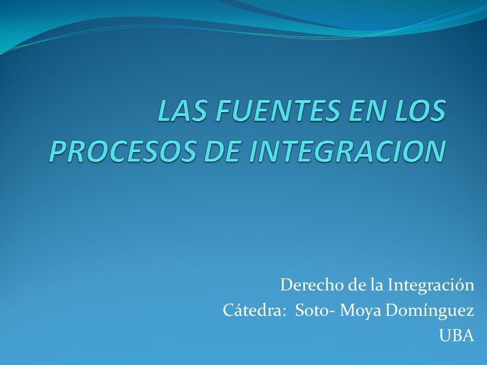 Derecho de la Integración Cátedra: Soto- Moya Domínguez UBA