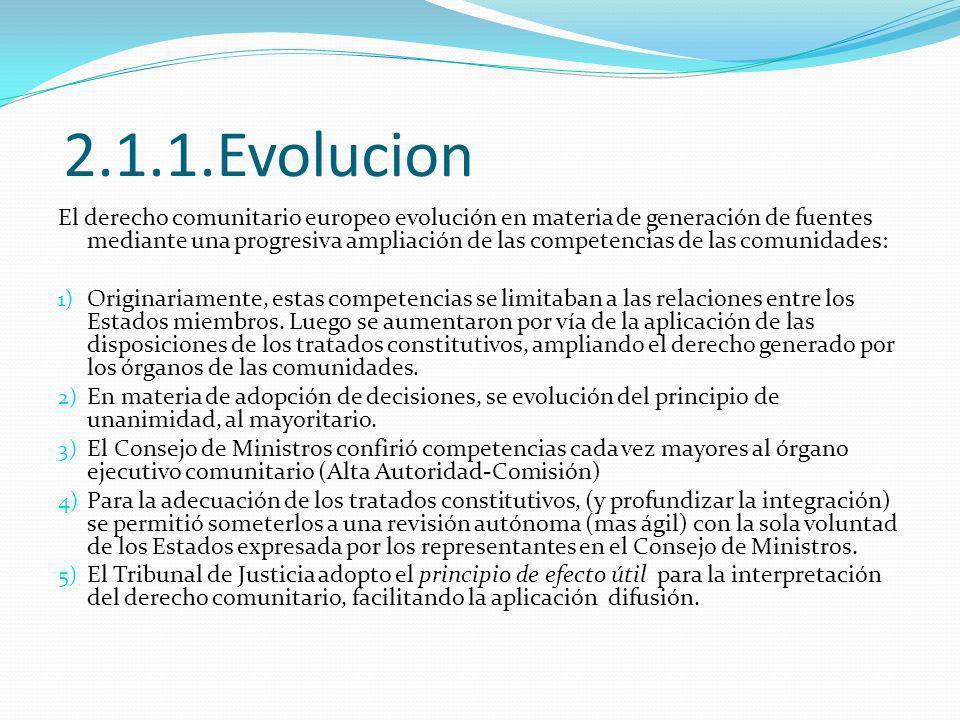 2.1.1.Evolucion El derecho comunitario europeo evolución en materia de generación de fuentes mediante una progresiva ampliación de las competencias de las comunidades: 1) Originariamente, estas competencias se limitaban a las relaciones entre los Estados miembros.