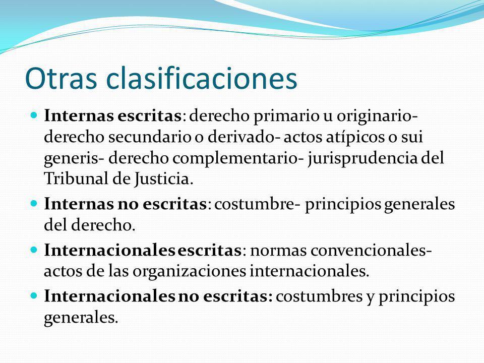 Otras clasificaciones Internas escritas: derecho primario u originario- derecho secundario o derivado- actos atípicos o sui generis- derecho complementario- jurisprudencia del Tribunal de Justicia.