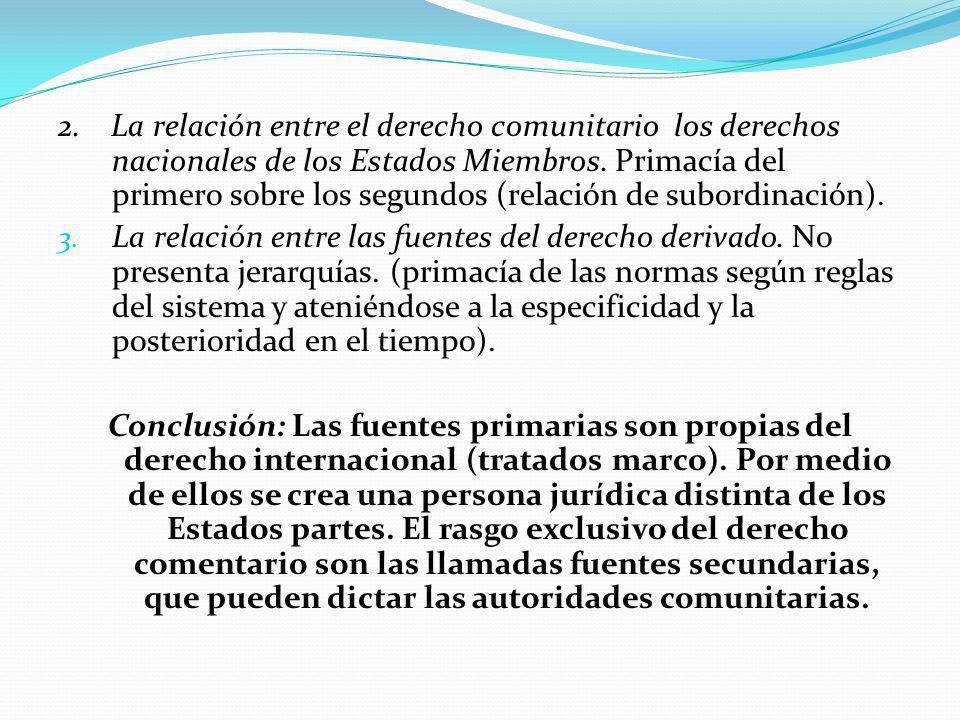 2.La relación entre el derecho comunitario los derechos nacionales de los Estados Miembros.