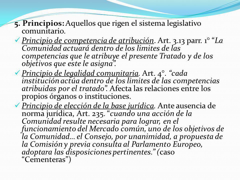 5.Principios: Aquellos que rigen el sistema legislativo comunitario.
